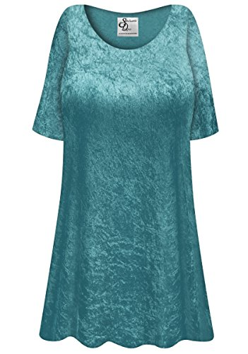 Dark Teal Crush Velvet Plus Size Supersize Extra Long A-Line Top 4x