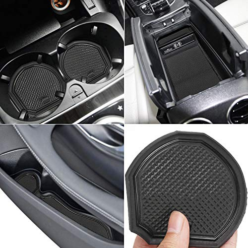 Auovo Anti Dust Mats for Mercedes-Benz C-Class C300 Sedan Coupe 2015-2019 Custom Fit Door Compartment Liners Cup Holder Console Liners Interior Accessories(8pcs/Set) (Black)