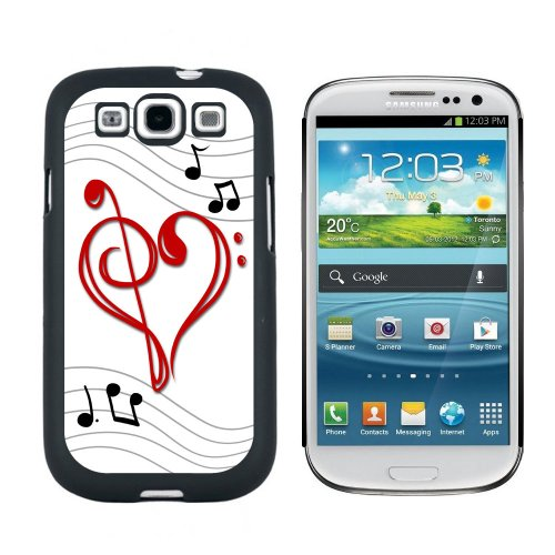 Music Heart - Love Treble Bass Clef Notes Staff Snap On Hard Protective Case for Samsung Galaxy S3 - Black Verizon Music