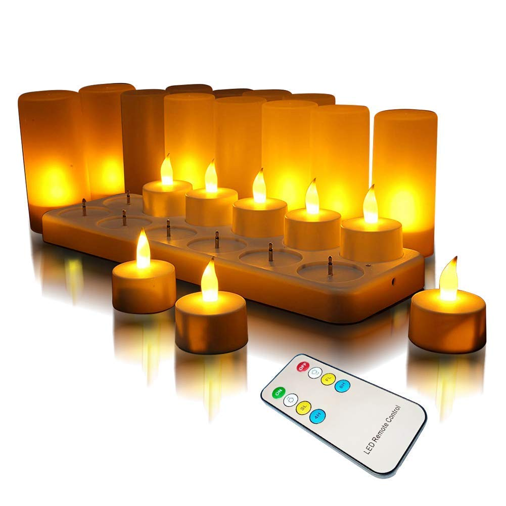 LED Rechargeable Flameless Tealight Qsportpeak Flickering Tealight Candles White Base with Charging Station,Gift Decoration for Party Holiday Set of 12(Yellow with Remote)