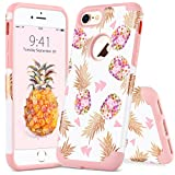 iPhone 7 Case iPhone 8 Pineapple Case YINLAI 2 in 1 Slim Hybrid Hard PC Cover Soft Silicone Rubber Glossy Shockproof Protective Phone Cases for Apple iPhone 7/8 Case for Girls Women White/Rose Gold