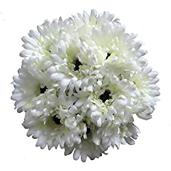 Htmeing 10 pcs Sunbeam Artificial Flower Mum Gerber Daisy Bridal Bouquet Silk Wedding Party Decoration (White)