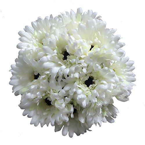 Htmeing 10 pcs Sunbeam Artificial Flower Mum Gerber Daisy Bridal Bouquet Silk Wedding Party Decoration (White Gerbera Daisies)