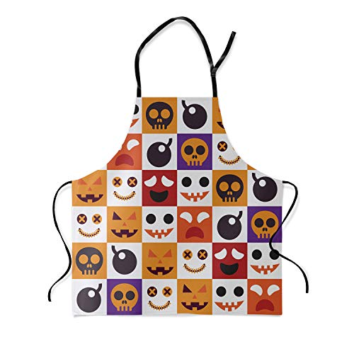 HomeCreator Adjustable Bib Apron Halloween Theme Unisex Kitchen Custom Apron for Cooking Baking Crafting Gardening Work Shop BBQ-Aqua 19