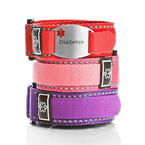 StickyJ USA Adjustable Diabetes Sport Strap Bracelet Pack for Girls by StickyJ