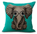 Funny Lovely Animals Abstract Adorable Elephant Baby Wearing Glasses Cotton Linen Throw Pillow Case Personalized Cushion Cover NEW Home Office Indoor Decorative Square 18 X 18 Inches