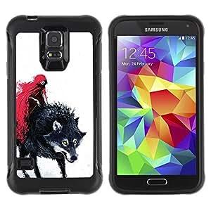 LASTONE PHONE CASE / Suave Silicona Caso Carcasa de Caucho Funda para Samsung Galaxy S5 SM-G900 / Red Cape Riding Hood Death Werewolf