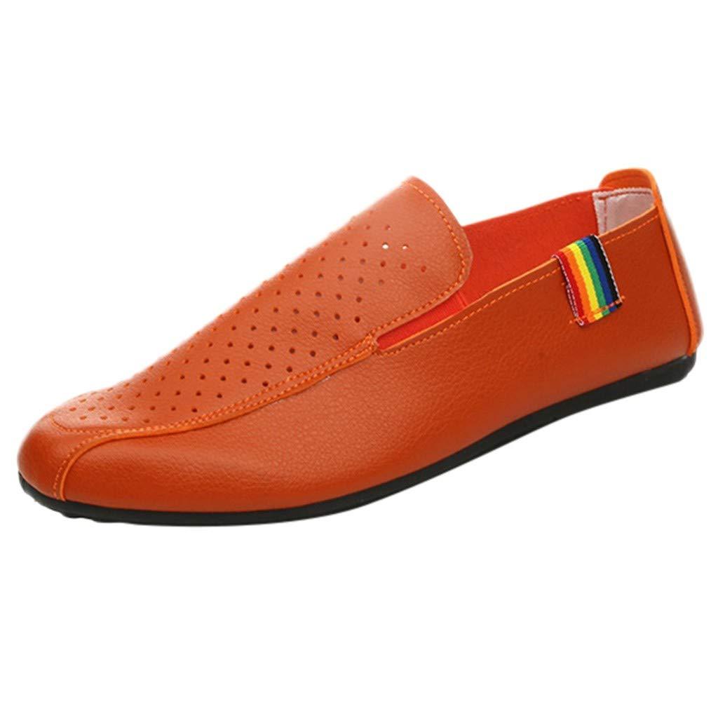 Zapatos Hombre Casuales Moda Cuero Casual Slip-On Transpirable Conducir Zapatos de Barco Vestir Aire Libre y Deporte Calzado Conveniente Comodo 39-44 riou