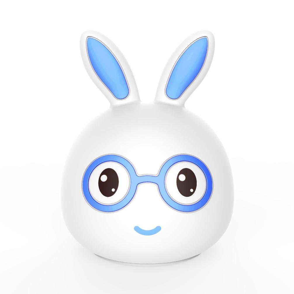 Novelty USB Charging Cute Silicone Rabbit LED Colorful Color Portable Creative Night Light Home Party Decoration,Esharing (Color B)