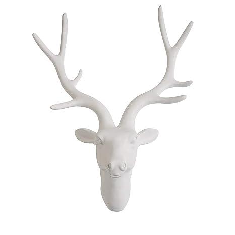 Amazon Com Yinasi White Wall Mount Hanging Deer Head And