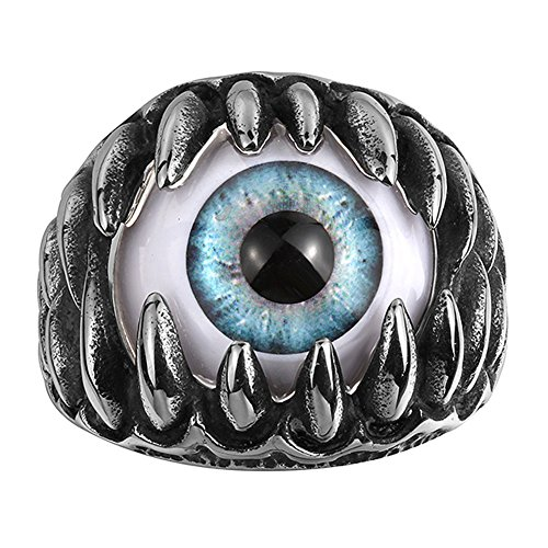 Punk Devil Girl Costume (Punk Jewelry Men's Gothic Dragon Claw Stainless Steel Ring with Devil Eye Stone)