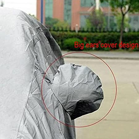 MeterMall Universal UV Waterproof Full Car Cover Outdoor Auto Sun Protection Covers Silver Gray XL