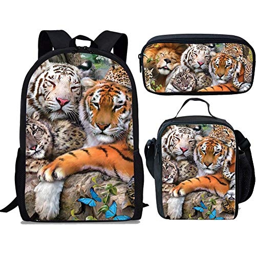 Lunch Box Stationery - Showudesigns Kids Backpack with Lunch Box Boys Tiger Print School Bag 3 Pieces Set Children Bookbag/Lunch Bag with Compartments/Pencil Case Stationery