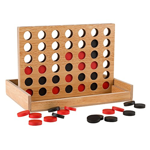 Classic Four in a Row Game Wooden Travel Board Game for Adults, Kids, Boys and Girls by Hey! Play! -