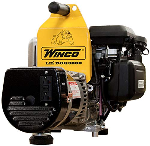 Winco Generators 16077-001 Model W3000H Lil' Dog Portable Generator, 3000W Starting, 2400W Running, 20A Running, Built with GC160 Engine, 3600 RPM Speed, 0.75 HP, 120V Single Phase