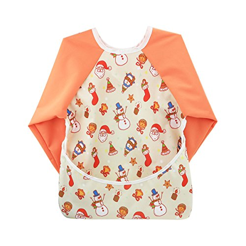 Hi Sprout Unisex Infant Toddler Baby Super Waterproof Sleeved Bib, Reusable Bib with Sleeves& Pocket, Multi Patterns, 6-24 Months (Merry Xmas)