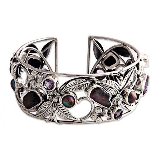 NOVICA Amethyst Cultured Freshwater Pearl .925 Sterling Silver Cuff Bracelet 'Tropical Frangipani'