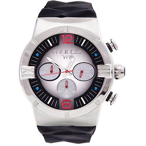 Mulco M10 Dome Gents Collection Watch - Premium Analog Display - Black 100% Silicone Band - Chronograph - Water Resistant - Stainless Steel -Men's Fashion MW5-3685-026