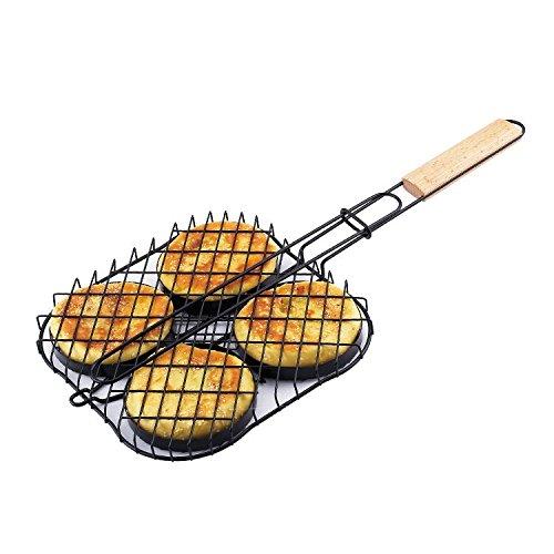 Non Stick Triple Fish Basket (TOPCHANCES Nonstick Hamburger Grilling Basket Hamburger BBQ Grill Rack , Cook 4 Burgers At Once (Hamburger Grill))