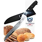 "DALSTRONG Serrated Offset Bread and Deli Knife- Shogun Series - Damascus - AUS-10V Japanese Super Steel - Vacuum Treated- 8"" - Included Sheath 8 The Shogun Series Serrated Offset knife features an ultra-sharp 8"" blade crafted from a single piece of high-carbon Japanese AUS-10V Super steel comprised of a total of 67 layers with an added vacuum treatment for outstanding durability and performance. This blade is designed with a full-tang and a hand-sharpened (using a meticulous version of the honbazuke method), single-bevel edge at 8-10 degrees, ensuring exceptional results and edge retention. The L-shaped blade profile is designed with your comfort in mind, proving more ergonomic, placing less strain on the wrist and hand while slicing. Perfectly positioned to perform more powerful cuts, the Shogun Serrated Offset knife is best for slicing both hard and soft surface foods, including but not limited to crusty loaves of bread, tomatoes, watermelon, pineapple, barbecued meats and more, all without tearing. Also perfect for sandwiches and professional delis and bakeries. The offset hand-polished handle creates knuckle clearance, ensuring it's users will never scrape their knuckles on the cutting board. The knife further features a beautiful, ergonomic and ambidextrous G10 Garolite (nearly impervious to heat, moisture and cold) handle with copper and brass mosaic pin and end-cap engraving."