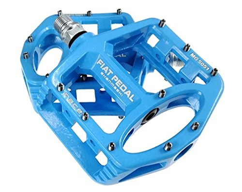 Sms Eveter Magnesium Lightweight Mountain Bike Pedal Platform Cycling Alloy Flat Pedals 5051 (Blue)
