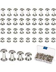 Chicago Schroeven, LANMOK 120 Sets 5mm Zilver Chicago Knopen Verschillende Kit Schroefbevestigingen Metalen Accessoires voor DIY Ambachten Lederen Riemen Boekbinden
