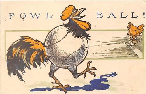 Base Ball, Baseball, Comic postcard from Old Postcards