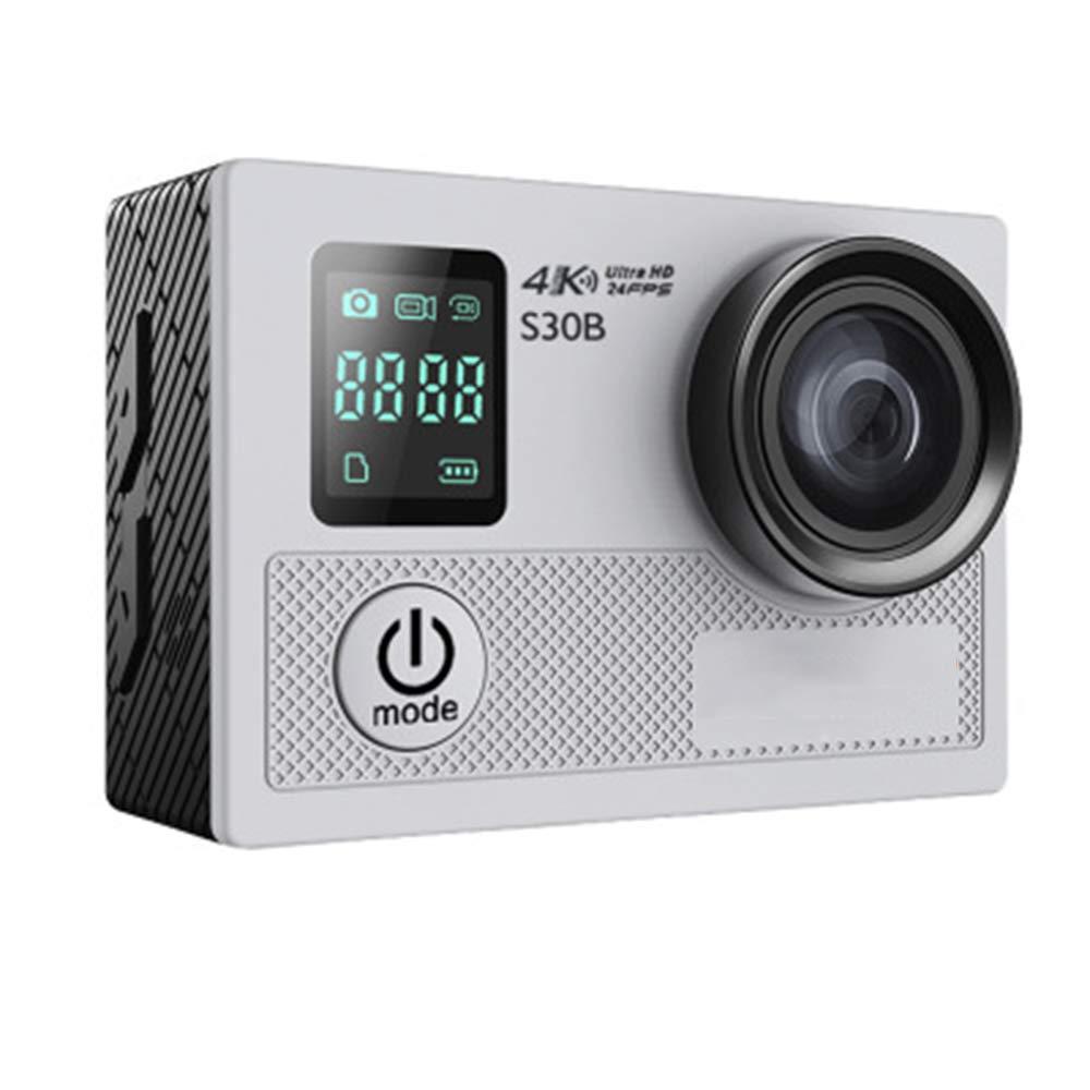 スポーツカメラ4K HD、ダブルスクリーン写真カメラDV、170°広角、30m防水、20Mカメラピクセル、WiFiリモートコントロール、60X41X24mm  Gray B07R2K1Z7C