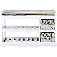 2 Basket Padded Shoe Storage Bench Unit Entryway Rack Organizer Shelf White + FREE E - Book