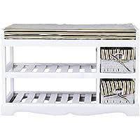 2 Basket Padded Shoe Storage Bench Unit Entryway Rack Organizer Shelf White + FREE E - Book