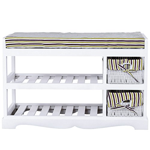 GJH One Padded Shoe Storage Bench Organizer Rack Shelf Unit Entryway Hallway Bench White 2 Basket 28'' X 13'' X 18''
