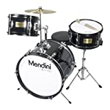 Mendini by Cecilio 16 inch 3-Piece Kids / Junior Drum Set with Adjustable Throne, Cymbal, Pedal & Drumsticks, Metallic Black, MJDS-3-BK