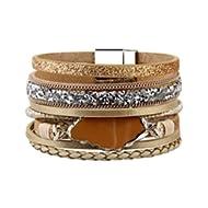 Handmade Braided Wrap Bracelet – Leather Cuff Bangle – Agate Stone Crystal – for Women,Girl Gift...