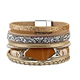 Beige Handmade Braided Bracelet – Leather Wrap Bracelet – Charm Cuff Bangle – Agate Stone – Crystal Rhinestone – Magnetic Buckle – Alloy Accessories for Women,Girl Gift By Jenia