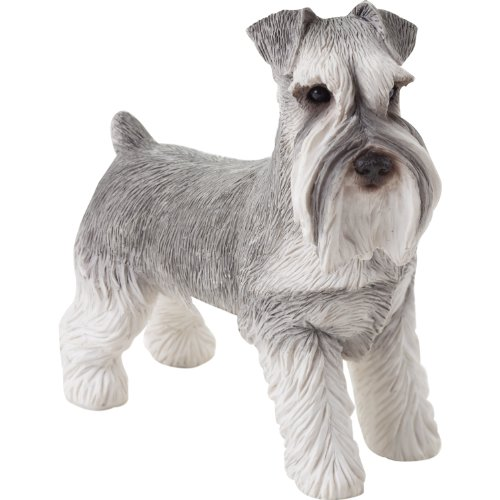 Figurine Sandicast (Sandicast Small Size Gray Schnauzer with Uncropped Ears Sculpture - Standing)