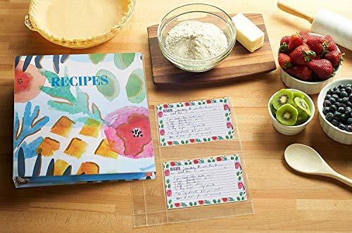 Meadowsweet Kitchens Recipe Binder Organizer Gift Set with Recipe Cards and Plastic Protector Sheets (Watercolors) by Meadowsweet Kitchens (Image #3)