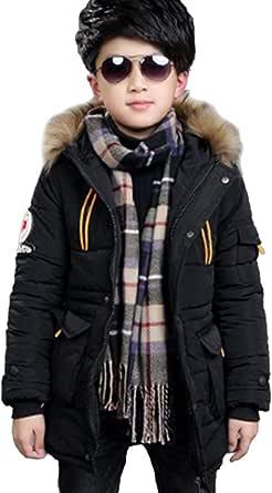 SXSHUN Niños Chaqueta de Invierno con 2 Cremalleras Abrigo Acolchado con Capucha de Pelo