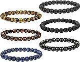 FIBO STEEL 6 Pcs 8MM Natural Healing Stone Bracelets for Men Women Beaded Bracelets Elastic,6A