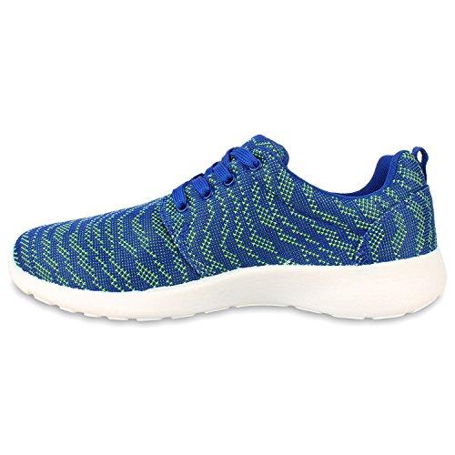 Stiefelparadies Herren Sportschuhe Muster Laufschuhe Übergrößen Sneakers Profilsohle Blumen Runners Flandell Blau Avion