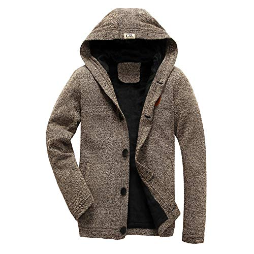 Men's Coat, FORUU Solid Hooded Knit Sweater Button Cardigan Thickened Plush Jacket ()