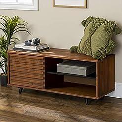 Living Room Walker Edison Mid Century Modern Wood Entryway Bench Shoe Storage Shelf Hallway Organizer, 44 Inch, Walnut modern tv stands