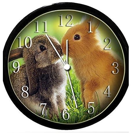 Amazoncom Glow In the Dark Wall Clock Kissing Bunnies Home