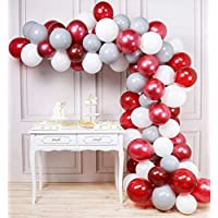 PartyWoo Burgundy Gray White Balloons 80 pcs Balloon Pack 12