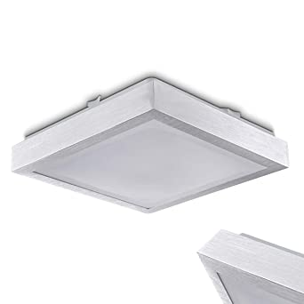 LED Deckenlampe Wutach – eckige LED Deckenleuchte aus Metall in Weiß ...