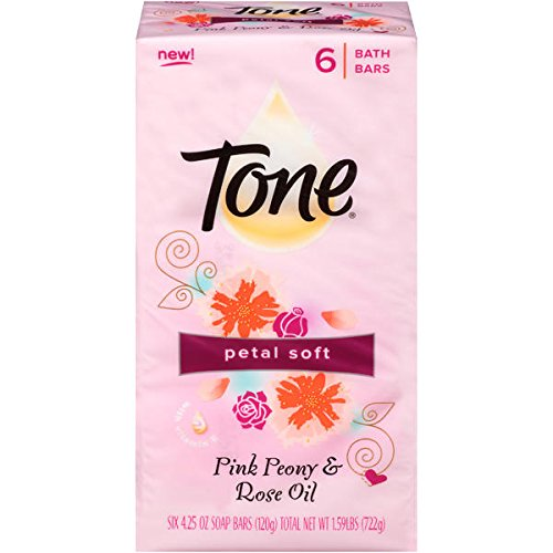 (Tone Petal Soft Pink Peony & Rose Oil Soap Bars 6 Bath Bars 120g Each 1.59lbs)