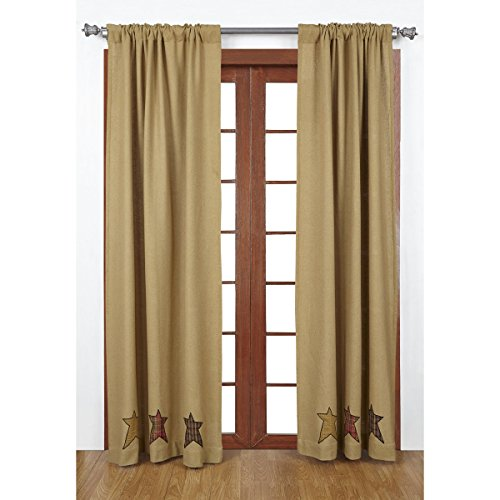 VHC Brands 18001 Stratton Burlap Applique Star Panel Set For Sale