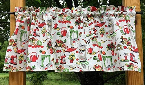 Retro Back to the Past 50s Red Cream Kitchen Fifties Farmhouse Window Curtain Valance – The Super Cheap