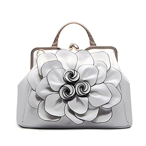 Realer Designer Leather Tote Bags Purses and Handbags Flower for Women Crossbody Hobo Bag Floral Medium White