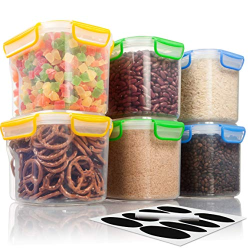6 AirTight Food Storage Containers for Flour, Sugar, Rice - 53 ounces/1,56 liters - Kitchen Pantry Plastic Containers - Air Tight Canisters Set With Locking Lids - 8 Labels and Marker by MoyaMriya