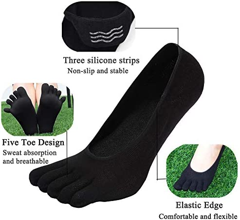 Footful Assorted  Women/'s Cotton Five Fingers Toe Sock Invisible Ankle Liner NEW